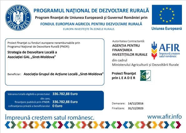 """Alocare nerambursabilă pentru Asociația GAL """"Siret-Moldova"""""""